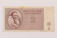 1993.162.6 front Theresienstadt ghetto-labor camp scrip, 2 kronen note  Click to enlarge