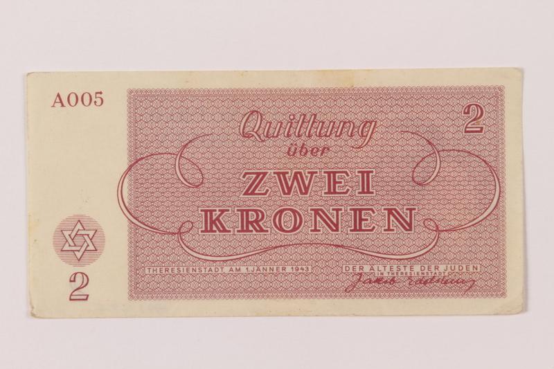 1993.162.6 back Theresienstadt ghetto-labor camp scrip, 2 kronen note