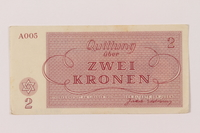 1993.162.6 back Theresienstadt ghetto-labor camp scrip, 2 kronen note  Click to enlarge