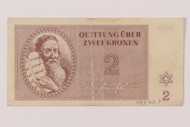 1993.162.7 front Theresienstadt ghetto-labor camp scrip, 2 kronen note
