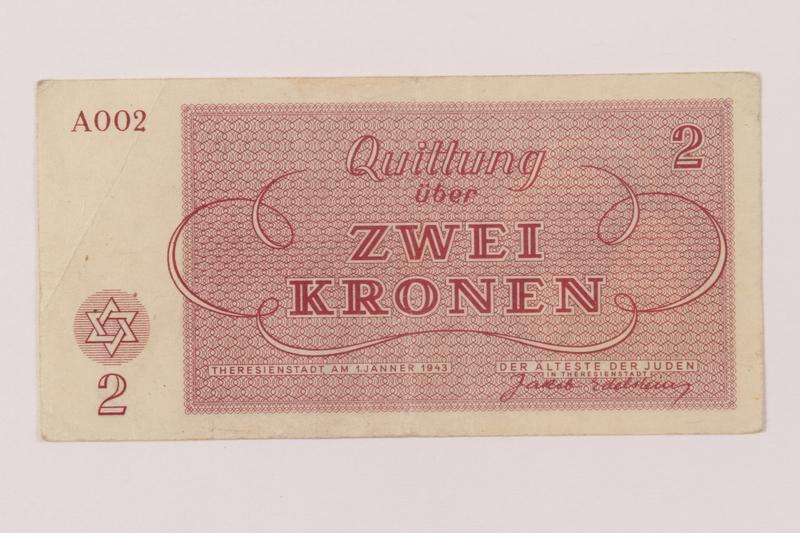 1993.162.7 back Theresienstadt ghetto-labor camp scrip, 2 kronen note