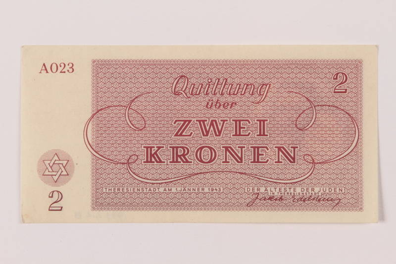 1993.162.8 back Theresienstadt ghetto-labor camp scrip, 2 kronen note