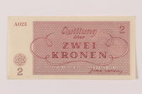 1993.162.8 back Theresienstadt ghetto-labor camp scrip, 2 kronen note  Click to enlarge