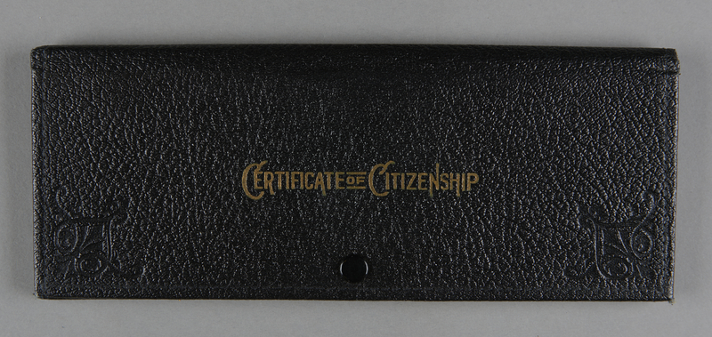 2012.455.8 front Certificate of Citizenship document case belonging to German Jewish prewar emigre