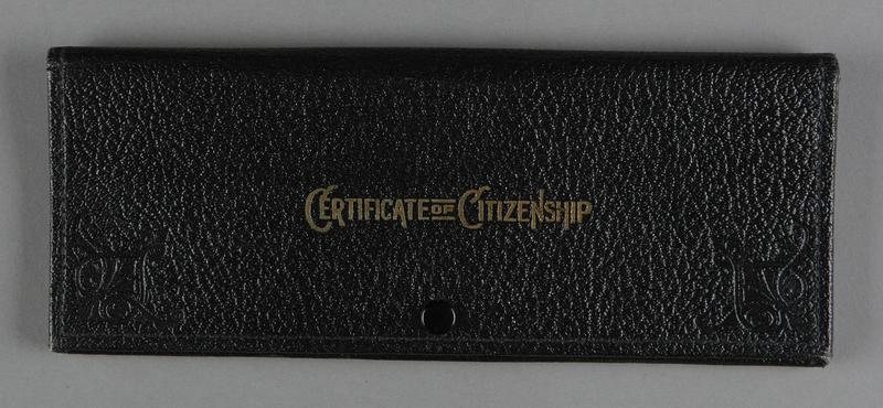2012.455.9 front Black Certificate of Citizenship document case belonging to German Jewish prewar emigre