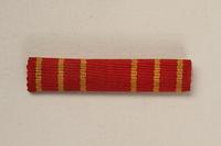 1993.167.3 front Yugoslav Orden za Hrabrost ribbon bar awarded to a Yugoslavian partisan  Click to enlarge