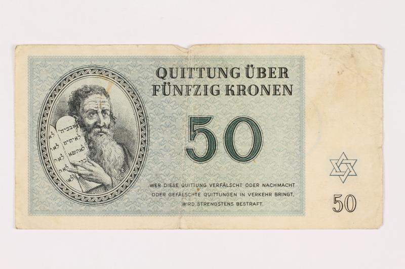 1993.18.1 front Theresienstadt ghetto-labor camp scrip, 50 kronen note