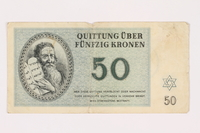 1993.18.1 front Theresienstadt ghetto-labor camp scrip, 50 kronen note  Click to enlarge