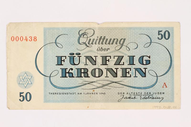 1993.18.1 back Theresienstadt ghetto-labor camp scrip, 50 kronen note