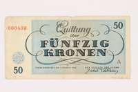 1993.18.1 back Theresienstadt ghetto-labor camp scrip, 50 kronen note  Click to enlarge