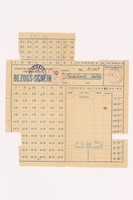1993.18.2 front Theresienstadt ghetto-labor camp food ration coupon used by a female inmate  Click to enlarge