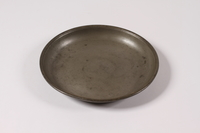2012.456.2 top Shallow pewter bowl with etched Hebrew owned by a German Jewish prewar emigre  Click to enlarge