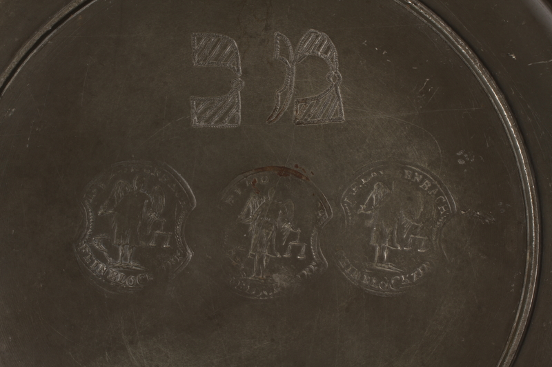 2012.456.2 detail Shallow pewter bowl with etched Hebrew owned by a German Jewish prewar emigre