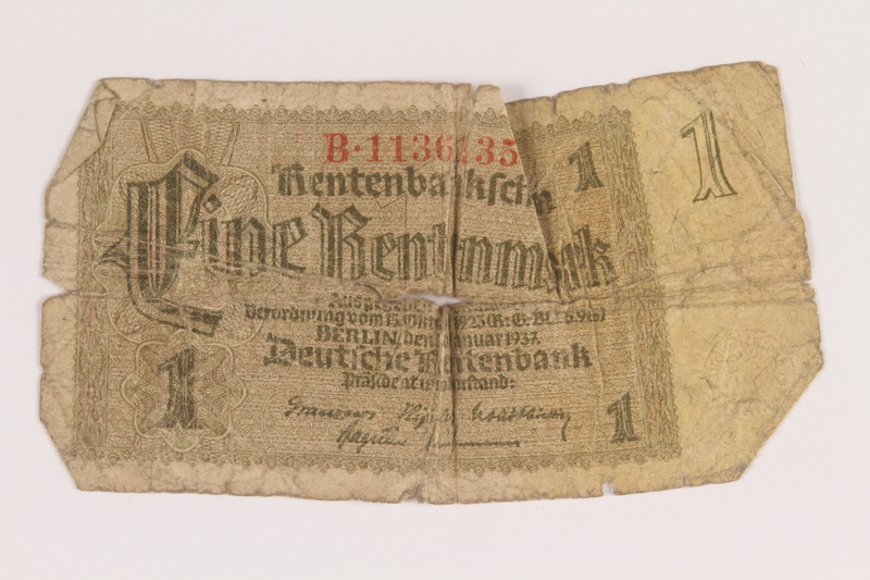 2013.223.3 front Nazi Germany, 1 Rentenmark note, owned by a former concentration camp prisoner