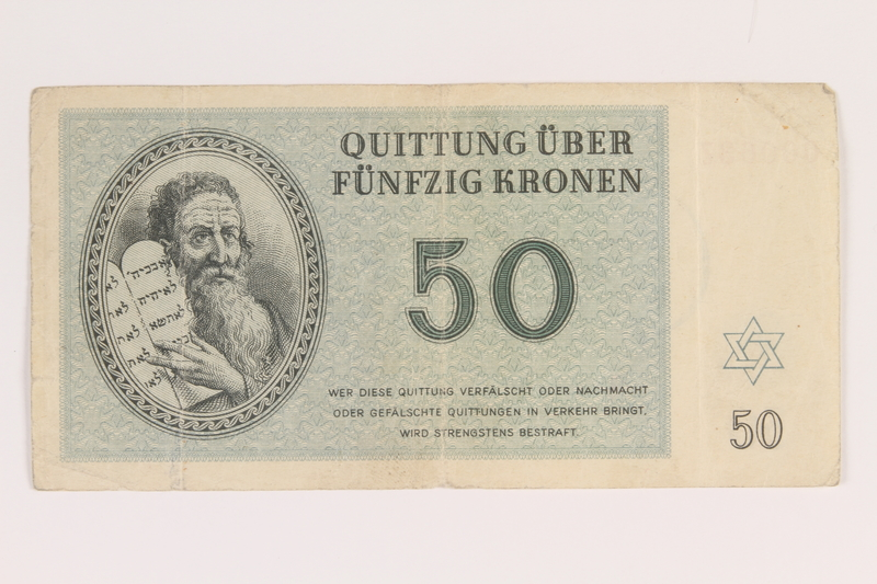 2013.232.2 front Theresienstadt ghetto-labor camp scrip, 50 (funfzig) kronen note, from Jewish Hungarian inmates