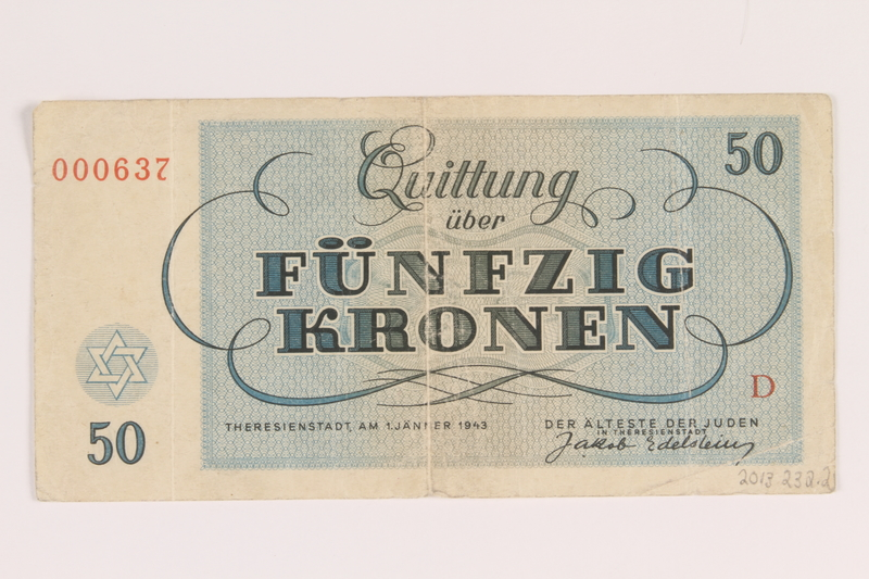 2013.232.2 back Theresienstadt ghetto-labor camp scrip, 50 (funfzig) kronen note, from Jewish Hungarian inmates