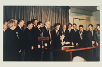 1993.20.1.1 front Genocide Convention signing ceremony photograph  Click to enlarge