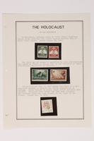 1993.21.1 page 1 front Album that contained a collection of Holocaust related postage stamps  Click to enlarge