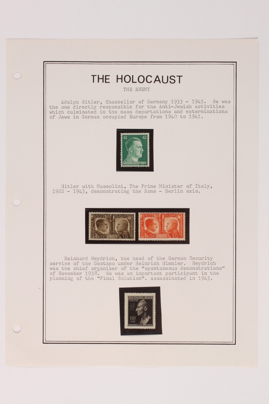 1993.21.1 page 2 front Album that contained a collection of Holocaust related postage stamps