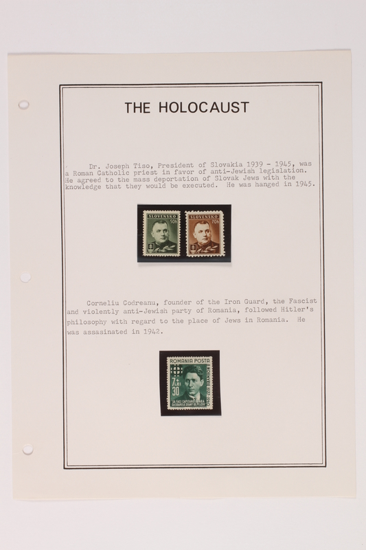 1993.21.1 page 3 front Album that contained a collection of Holocaust related postage stamps