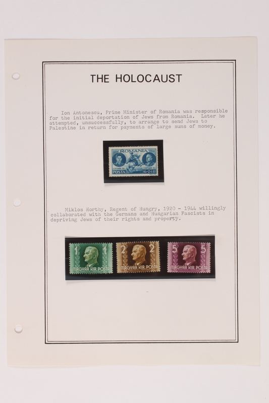 1993.21.1 page 4 front Album that contained a collection of Holocaust related postage stamps