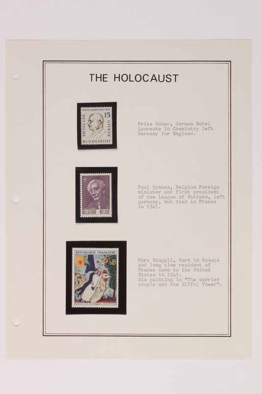 1993.21.1 page 7 front Album that contained a collection of Holocaust related postage stamps