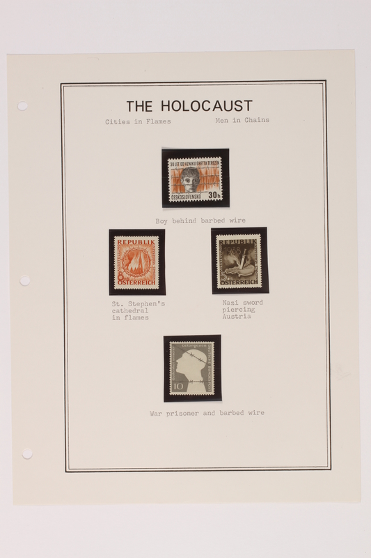 1993.21.1 page 12 front Album that contained a collection of Holocaust related postage stamps