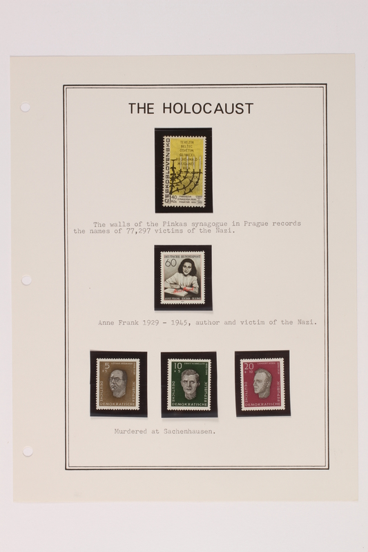 1993.21.1 page 19 front Album that contained a collection of Holocaust related postage stamps