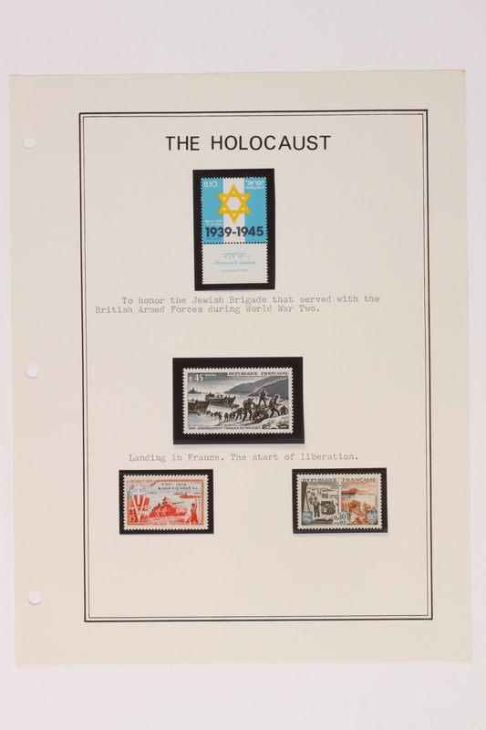 1993.21.1 page 22 front Album that contained a collection of Holocaust related postage stamps