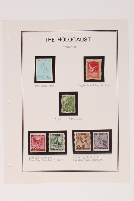 1993.21.1 page 29 front Album that contained a collection of Holocaust related postage stamps