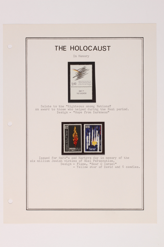 1993.21.1 page 34 front Album that contained a collection of Holocaust related postage stamps