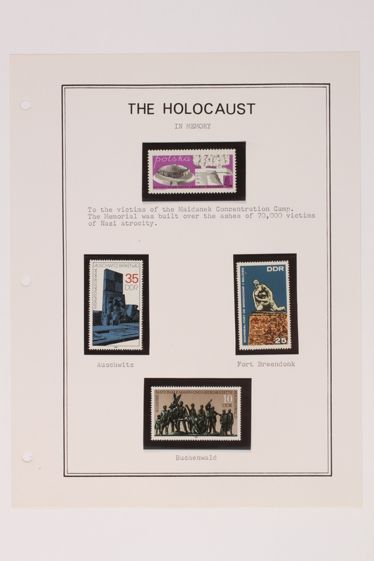 1993.21.1 page 35 front Album that contained a collection of Holocaust related postage stamps