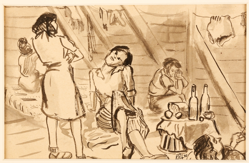 1988.1.10 front Sketch of women in their barracks by a German Jewish internee
