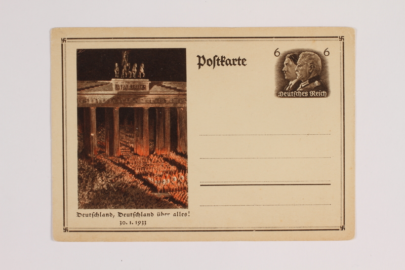 1993.21.1.18 front Postcard issued by the Postal Office of the Third Reich to celebrate the day of Hitler's election
