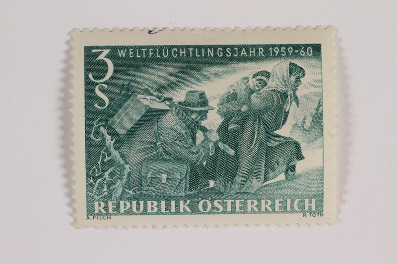 1993.21.1.25 front Postage stamp, Austria, 3 schilling, commemorating World Refugee Year
