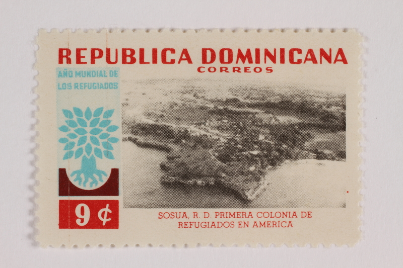 1993.21.1.35 front Postage stamp, Dominican Republic, 3 cents, commemorating refugee aid efforts