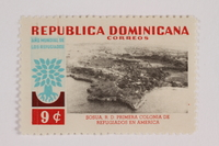 1993.21.1.35 front Postage stamp, Dominican Republic, 3 cents, commemorating refugee aid efforts  Click to enlarge