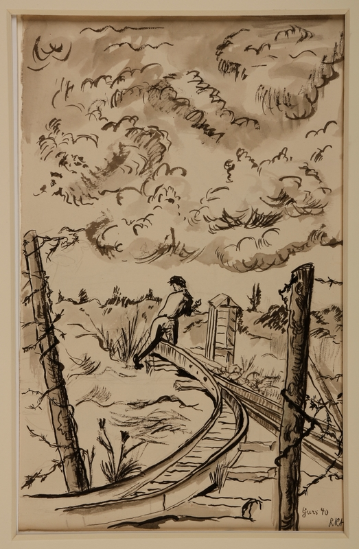 1988.1.11 a front Two-sided drawing of railroad tracks and women carrying a bucket by a German Jewish internee