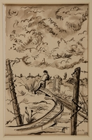 1988.1.11 a front Two-sided drawing of railroad tracks and women carrying a bucket by a German Jewish internee  Click to enlarge