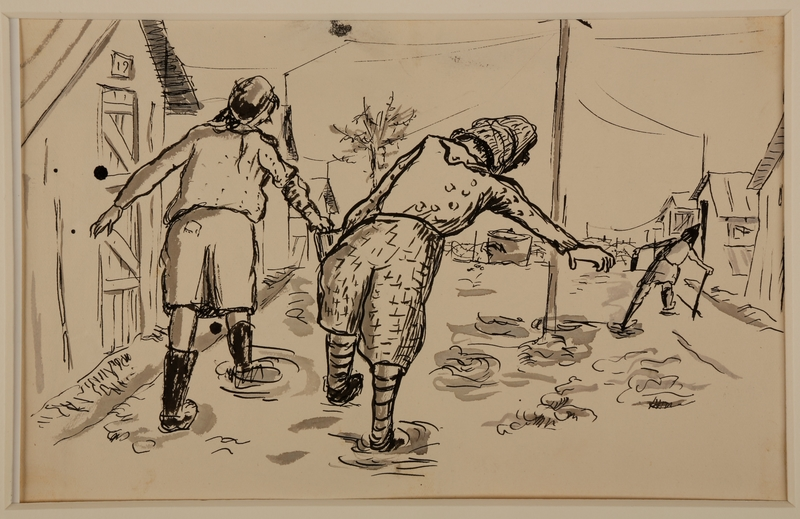 1988.1.11 b front Two-sided drawing of railroad tracks and women carrying a bucket by a German Jewish internee
