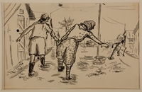 1988.1.11 b front Two-sided drawing of railroad tracks and women carrying a bucket by a German Jewish internee  Click to enlarge