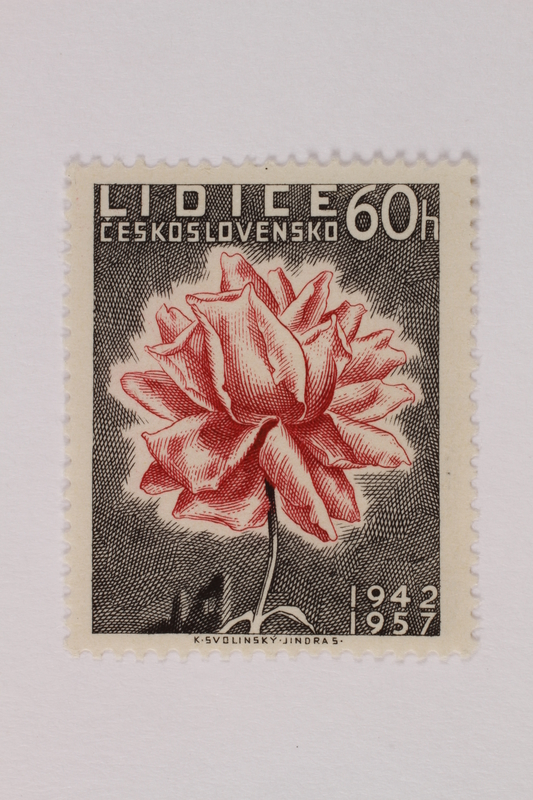1993.21.1.59 front Czech postage stamp commemorating the destruction of Lidice