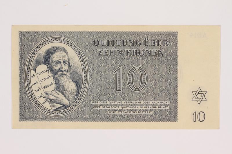1993.21.1.81 front Theresienstadt ghetto-labor camp scrip, 10 kronen note