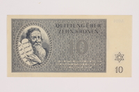 1993.21.1.81 front Theresienstadt ghetto-labor camp scrip, 10 kronen note  Click to enlarge