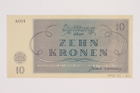 1993.21.1.81 back Theresienstadt ghetto-labor camp scrip, 10 kronen note  Click to enlarge