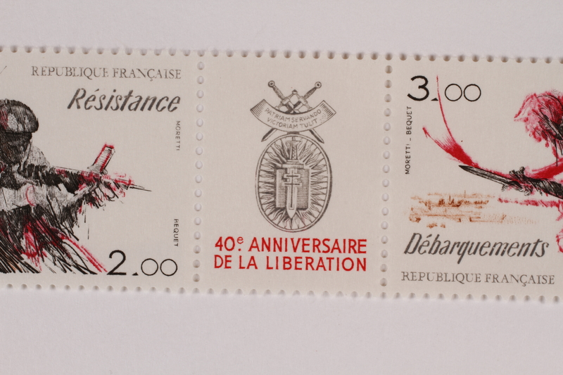 1993.21.6 b front Label for the 40th Anniversary of Liberation of France
