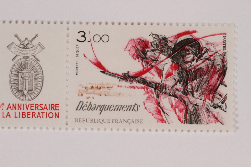 1993.21.6 c front Postage stamp, 3 francs, issued to honor the landing in France by the French Postal Office