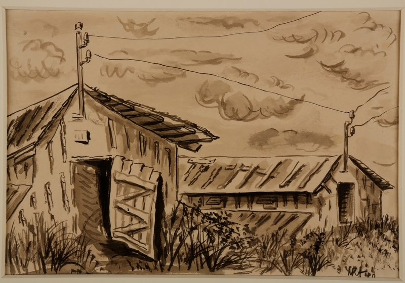 1988.1.12 front Ink drawing of two barracks surrounded by tall grass by a German Jewish internee