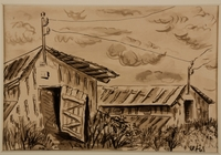 1988.1.12 front Ink drawing of two barracks surrounded by tall grass by a German Jewish internee  Click to enlarge