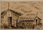 Ink drawing of two barracks surrounded by tall grass by a German Jewish internee